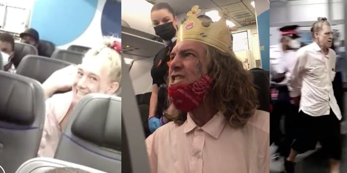 The white man mocked, taunted and screamed at other passengers on the flight before he was escorted out