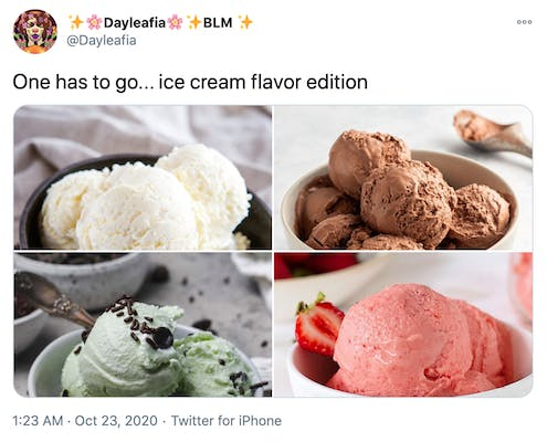 """""""One has to go... ice cream flavor edition"""" pictures of scoops of vanilla, chocolate, mint chock chip and strawberry"""
