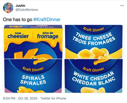 """""""one has to go #KraftDinner"""" pictures of four different kinds of Kraft Dinner Mac and Cheese"""