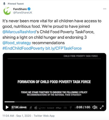 It's never been more vital for all children have access to good, nutritious food. We're proud to have joined  @MarcusRashford 's Child Food Poverty TaskForce, shining a light on child hunger and endorsing 3  @food_strategy  recommendations #EndChildFoodPoverty http://bit.ly/CFPTaskForce