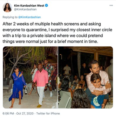 """""""After 2 weeks of multiple health screens and asking everyone to quarantine, I surprised my closest inner circle with a trip to a private island where we could pretend things were normal just for a brief moment in time."""" two pictures of Kim's party guests, one on the beach and one in a bar"""