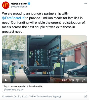 """""""We are proud to announce a partnership with  @FareShareUK  to provide 1 million meals for families in need. Our funding will enable the urgent redistribution of meals across the next couple of weeks to those in greatest need."""" screenshot of people unloading a lorry"""