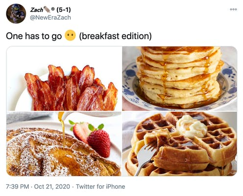 """""""One has to go Face without mouth (breakfast edition)""""  pictures of bacon, pancakes in a stack, French toast and waffles with butter"""