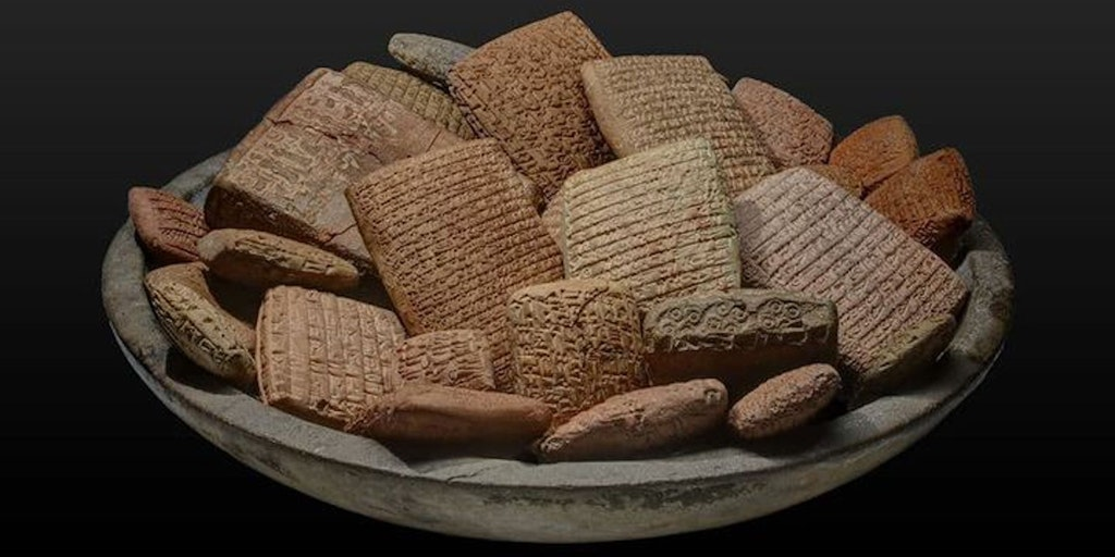 Basket full of Assyrian clay tablets