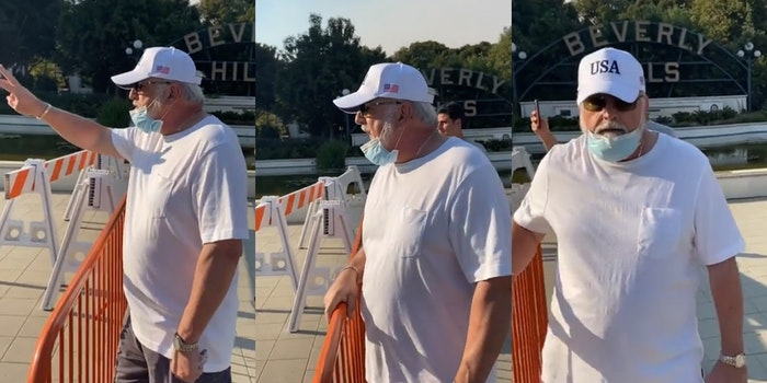 man in beverly hills shouts racial slurs and threats of violence at protesters