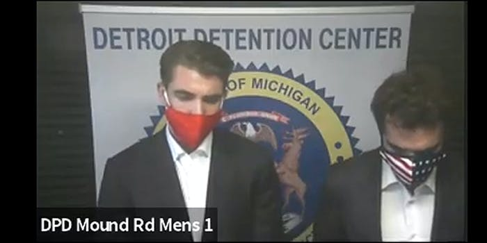 A photo of jack burkman and jacob wohl at arraignment