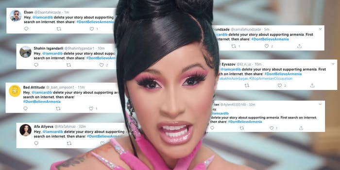 Cardi B surrounded by tweets
