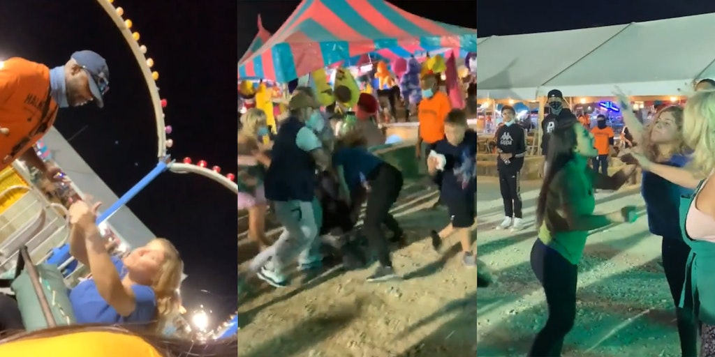 woman freaks out on carnival ride and winds up in fistfight