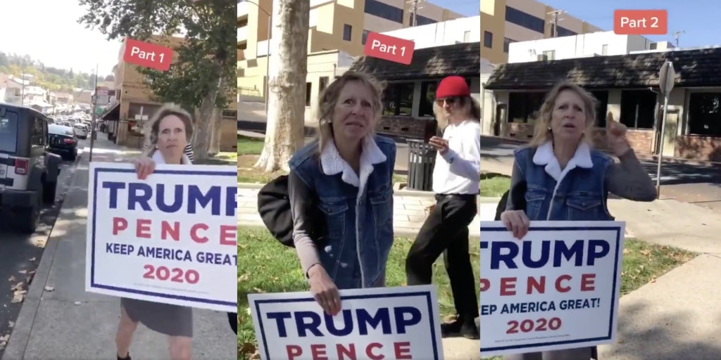 An elderly female Trump supporter