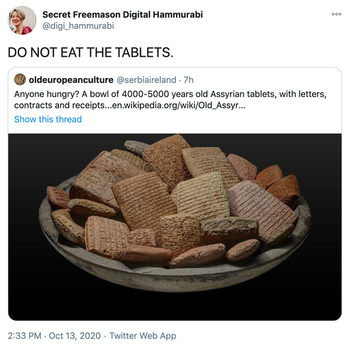 """DO NOT EAT THE TABLETS."" embed of original tweet"