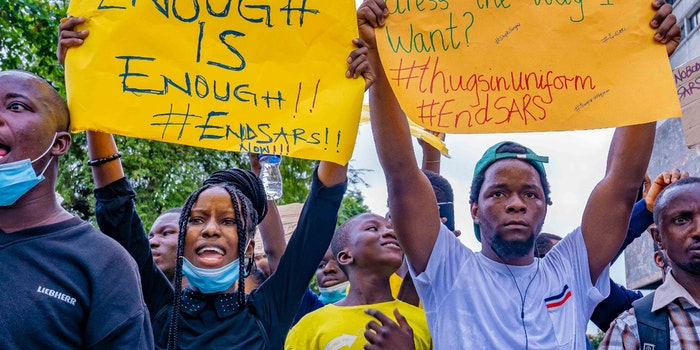 #EndSars protesters in Nigeria