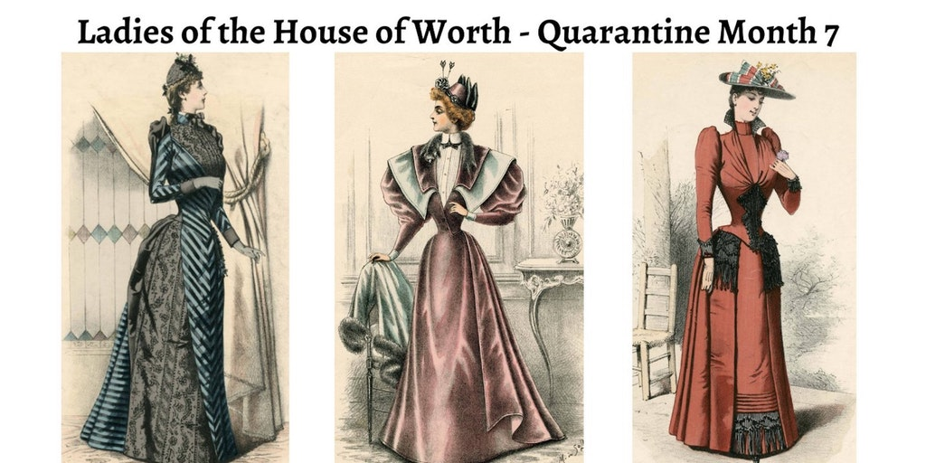 Ladies of the House of Worth Quarantine edition, headshots of three women in period clothing
