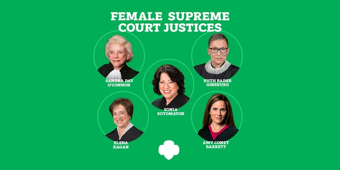 Sandra Day O'Connor, Ruth Bader Ginsburg, Sonia Sotomayor, Elena Kagan, and Amy Coney Barrett