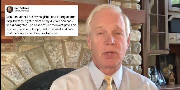 Sen. Ron Johnson next to a satirical tweet