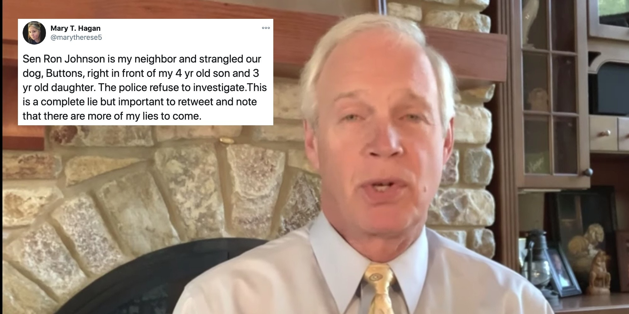 Sen. Ron Johnson next to a satirical tweet
