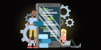 illustration of man and woman loading software onto their phones