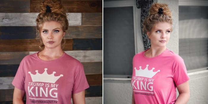 Kaitlin Bennett wearing a shirt declaring Trump as her king