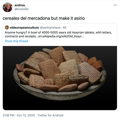 """cereales del mercadona but make it asirio"" embed of original tweet"