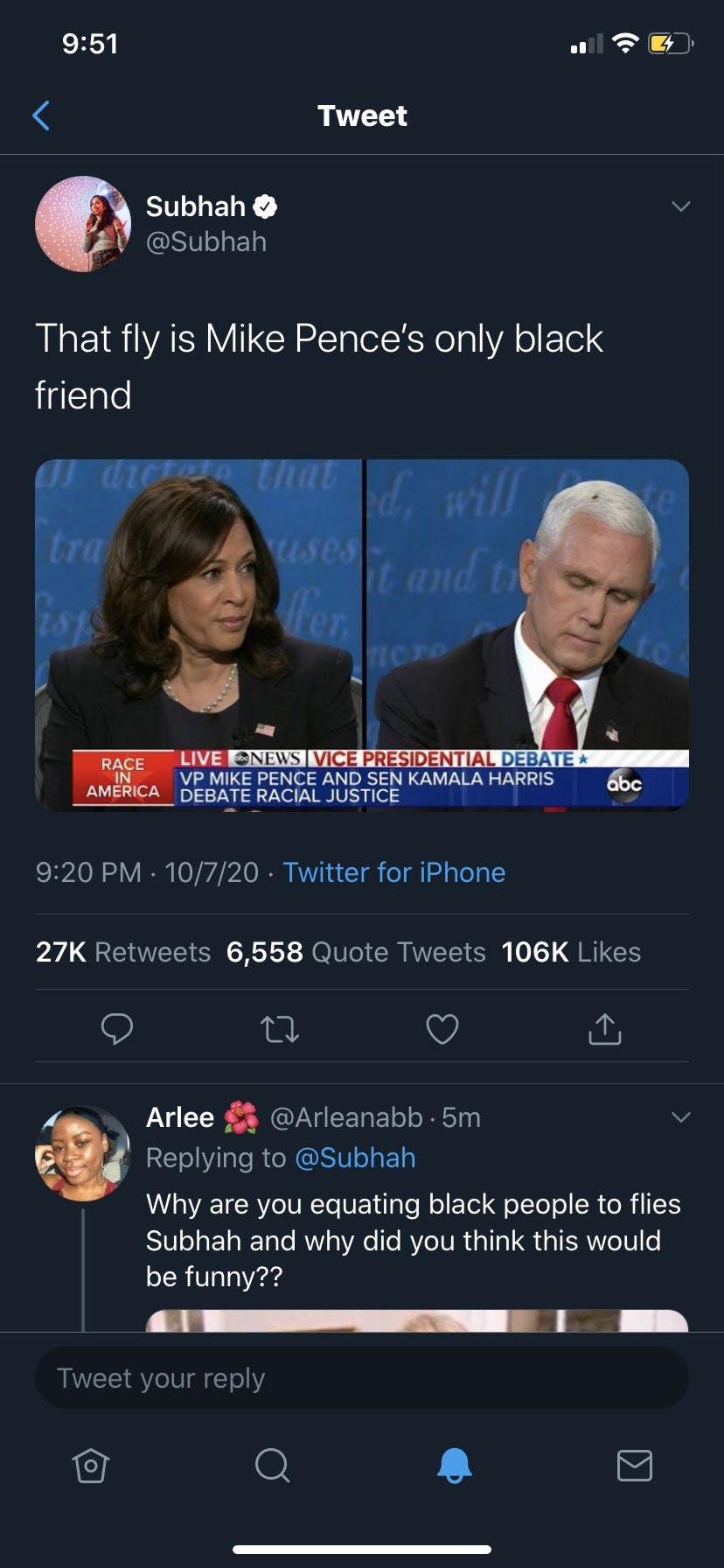 Mike Pence fly racist tweet