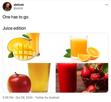 """""""One has to go. Juice edition"""" pictures of mango, orange, apples and strawberry juices in glasses next to the fruit in question"""