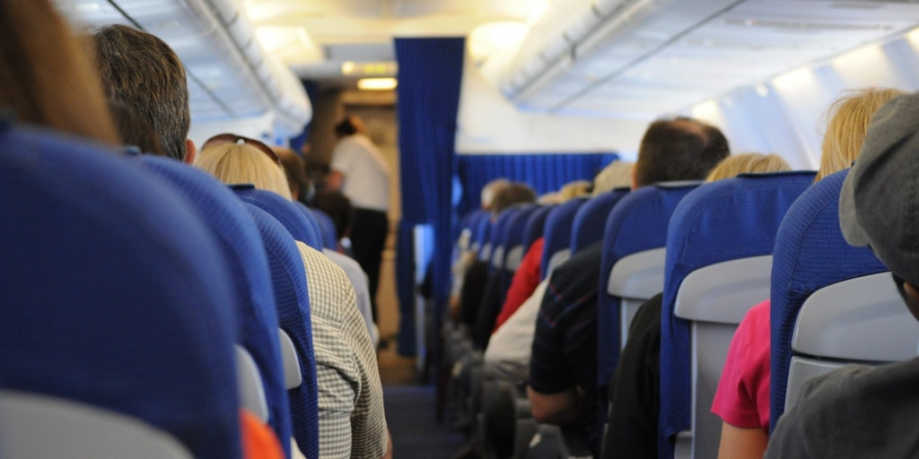 The inside of a commercial airliner