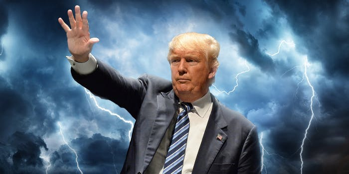 Trump raising hand with lightning background