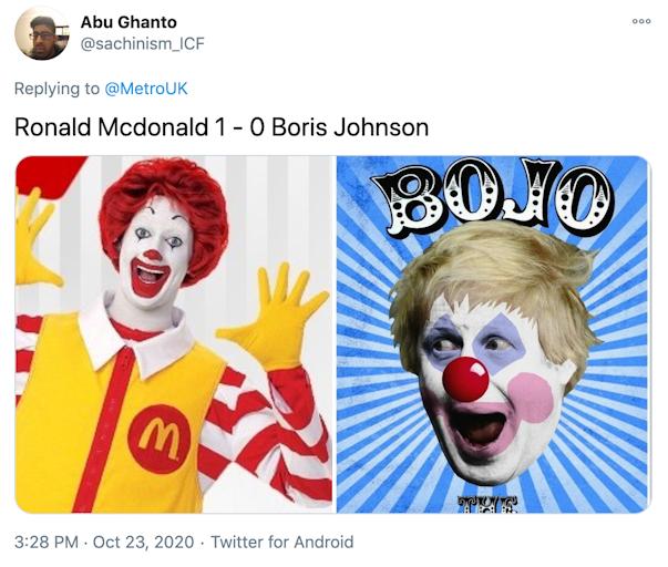 """Ronald Mcdonald 1 - 0 Boris Johnson"" picture of Ronald MacDonald next to image of Boris Johnson made up to look like a clown"