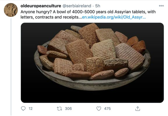 """Anyone hungry? A bowl of 4000-5000 years old Assyrian tablets, with letters, contracts and receipts...https://en.wikipedia.org/wiki/Old_Assyrian_Empire"" Basket of Assyrian tablets that look exactly like shredded wheat"