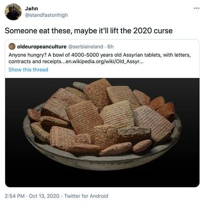 """Someone eat these, maybe it'll lift the 2020 curse"" embed of original tweet"