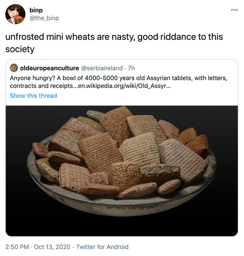 """unfrosted mini wheats are nasty, good riddance to this society"" original tweet embedded"