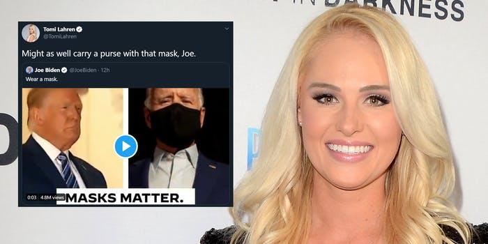 """tomi lahren """"might as well carry a purse with that mask, Joe"""" tweet"""