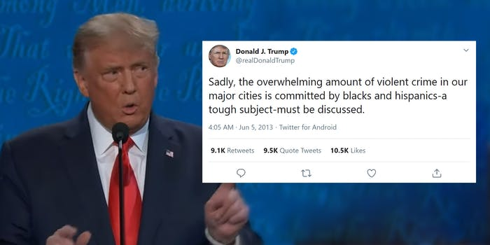 """trump tweet """"sadly, the overwhelming amount of violent crime in our major cities is committed by blacks and hispanics-a tough subject-must be discussed."""""""