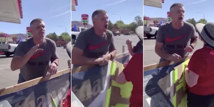 Trump supporter coughs on BLM protesters