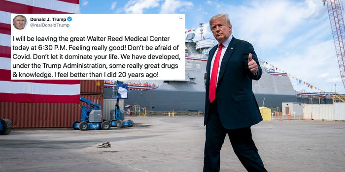 President Donald Trump next to a tweet about the coronavirus