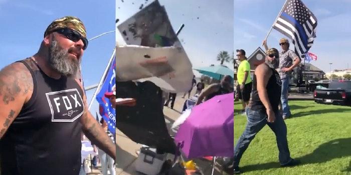 violent trump supporter flips blm table