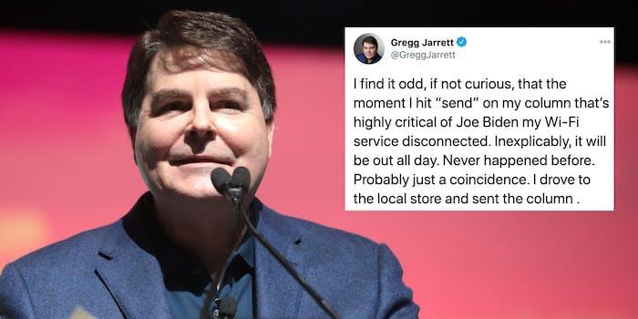 Fox News analyst Gregg Jarrett next to a tweet