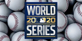 world series 2020 logo over baseballs