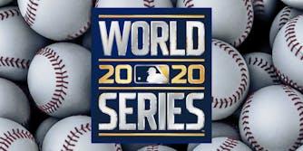 world series 2020 logo over baseballs