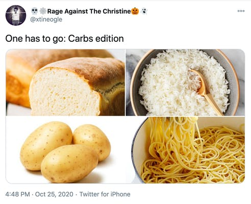 """""""One has to go: Carbs edition"""" pictures of bread, rice, potatoes and pasta"""