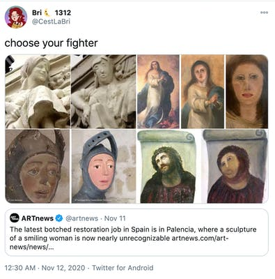 """""""choose your fighter"""" before and after pictures of the statue, the melted Mary, Playmobile St. George and Ecce Homo"""