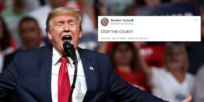 Donald Trump Stop The Count Tweet Biden Win