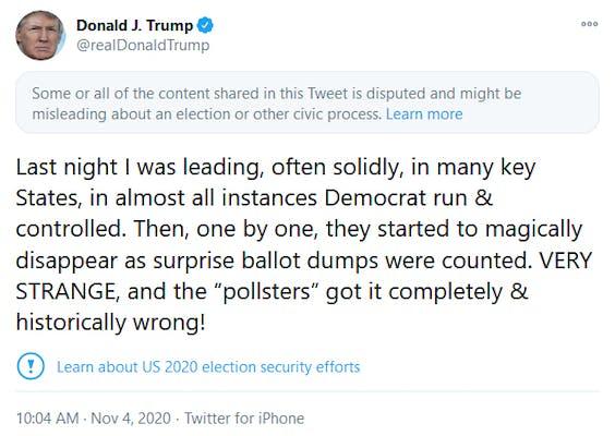 Donald Trump Twitter Label Election tweet Very Strange