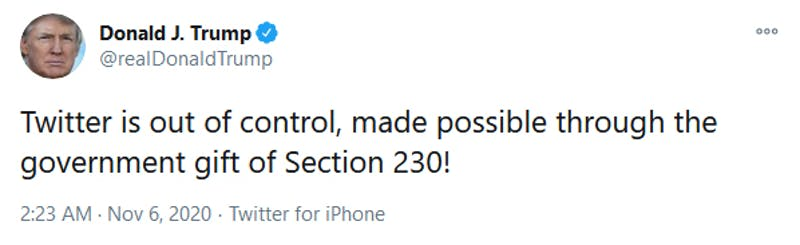 Donald Trump Twitter Section 230 Election 2020 Tweet