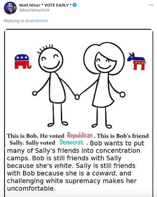 """Male and female stick figures with the republican elephant and democratic donkey beside them and text saying """"This is Bob. He voted Republican. This is Bob's friend Sally. Sally voted Democrat. Bob wants to put many of Sally's friends in concentration camps. Bob is still friends with Sally because she's white. Sally is still friends with Bob because she is a coward and challenging white supremacy makes her uncomfortable."""