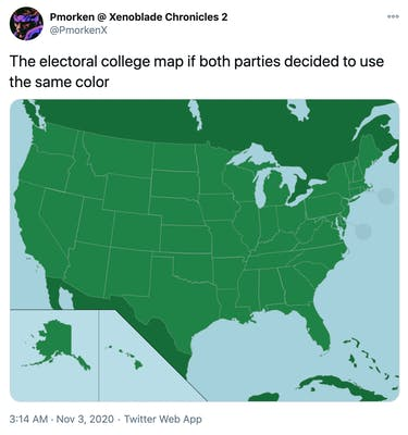 """""""The electoral college map if both parties decided to use the same color"""" entirely green unlabelled electoral college map"""