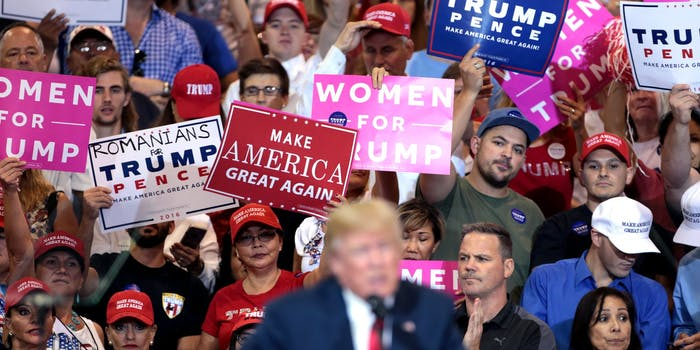 President Donald Trump and his supporters