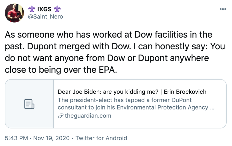 As someone who has worked at Dow facilities in the past. Dupont merged with Dow. I can honestly say: You do not want anyone from Dow or Dupont anywhere close to being over the EPA.