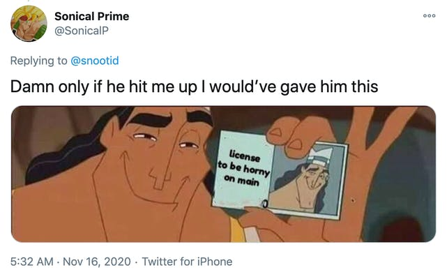 """""""Damn only if he hit me up I would've gave him this"""" image of Pacha from the Emperor's New Groove holding a license to be horny"""
