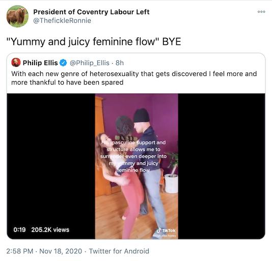 """Yummy and juicy feminine flow"" BYE"