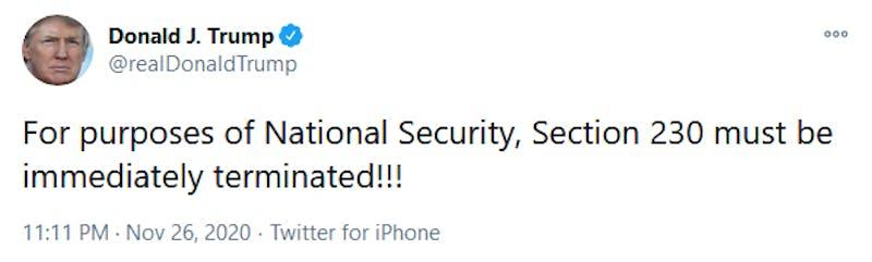 Trump Section 230 National Security Tweet